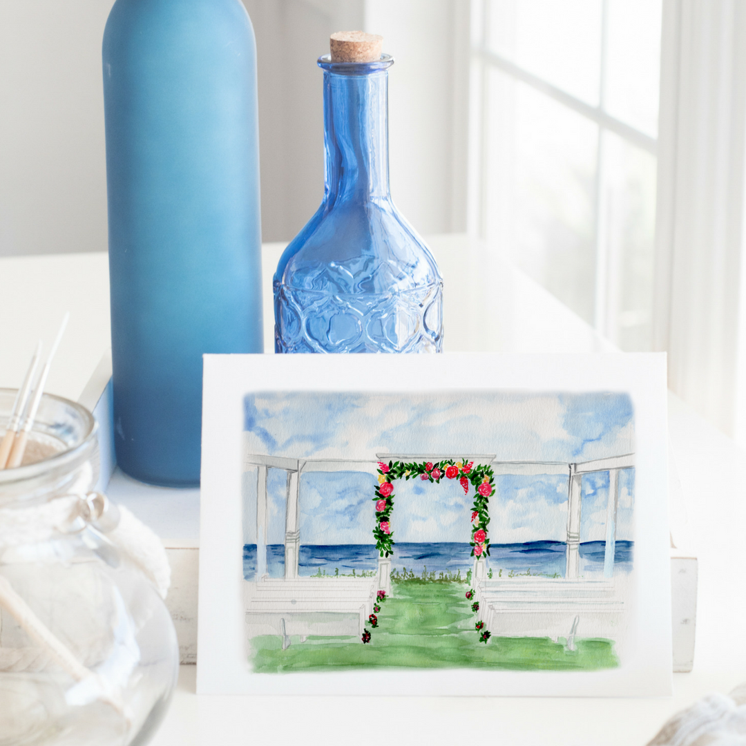 neuse breeze wedding venue watercolor painting